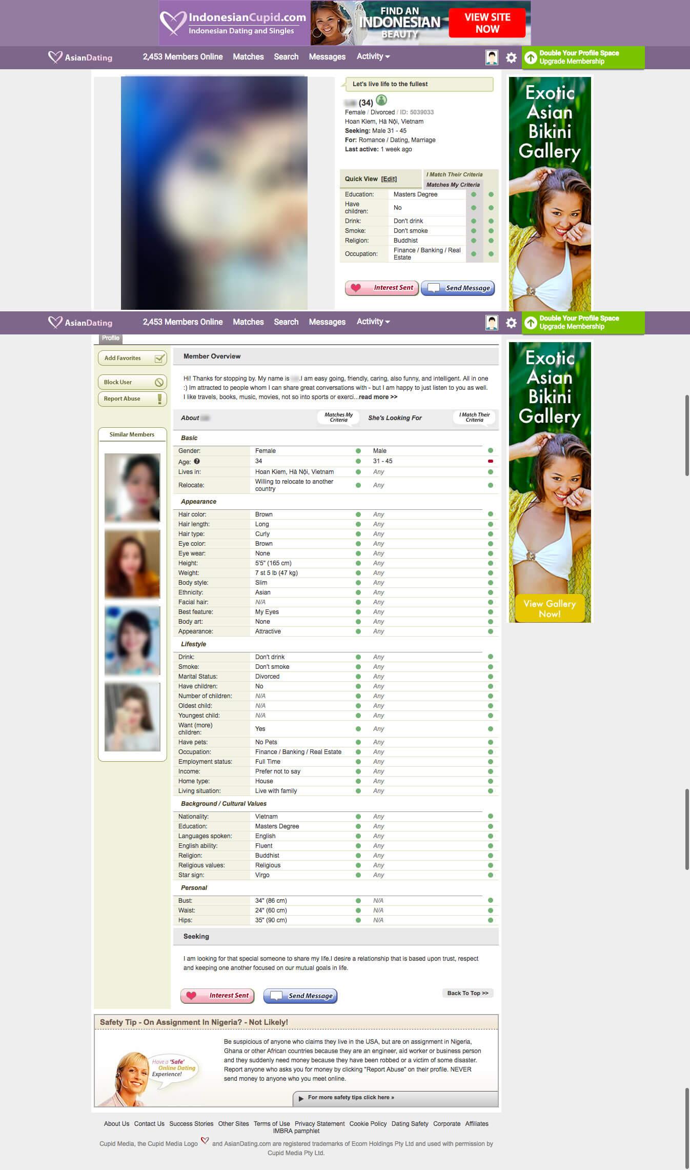AsianDating female profile