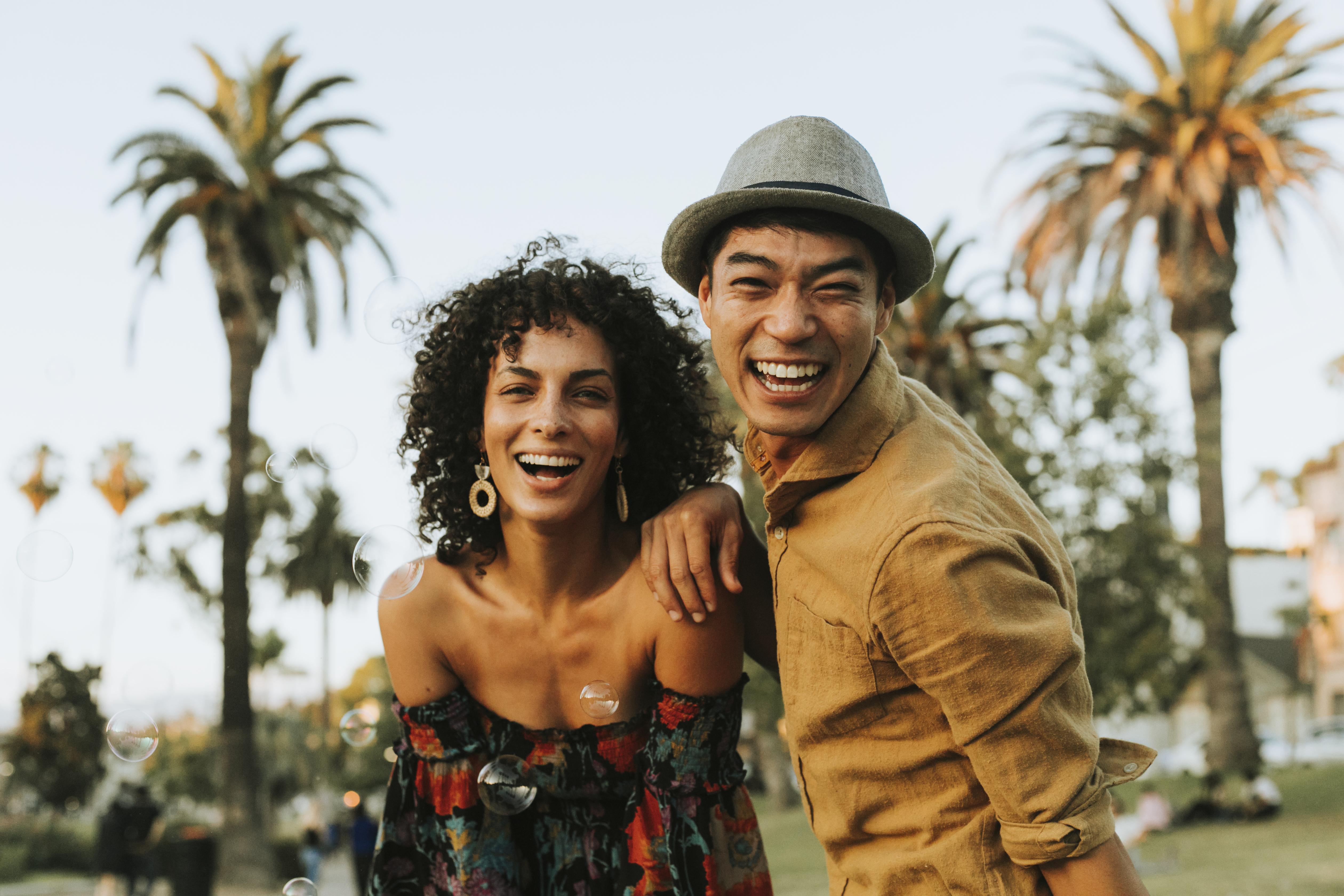 Interracial Dating Couple Happy