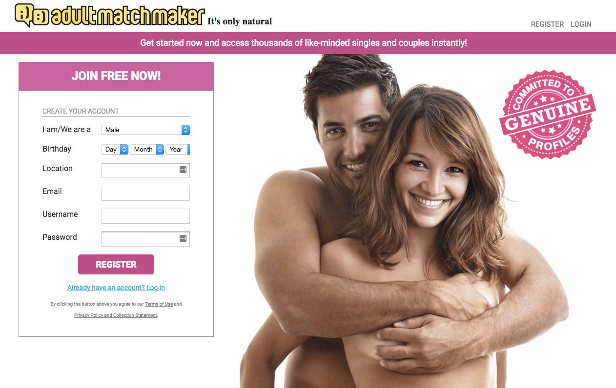 Adult Match Maker Sign Up Page