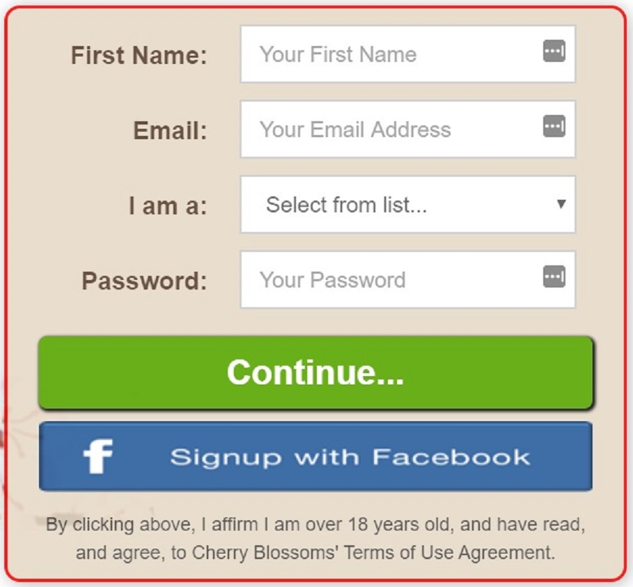 Blossoms Registration Page