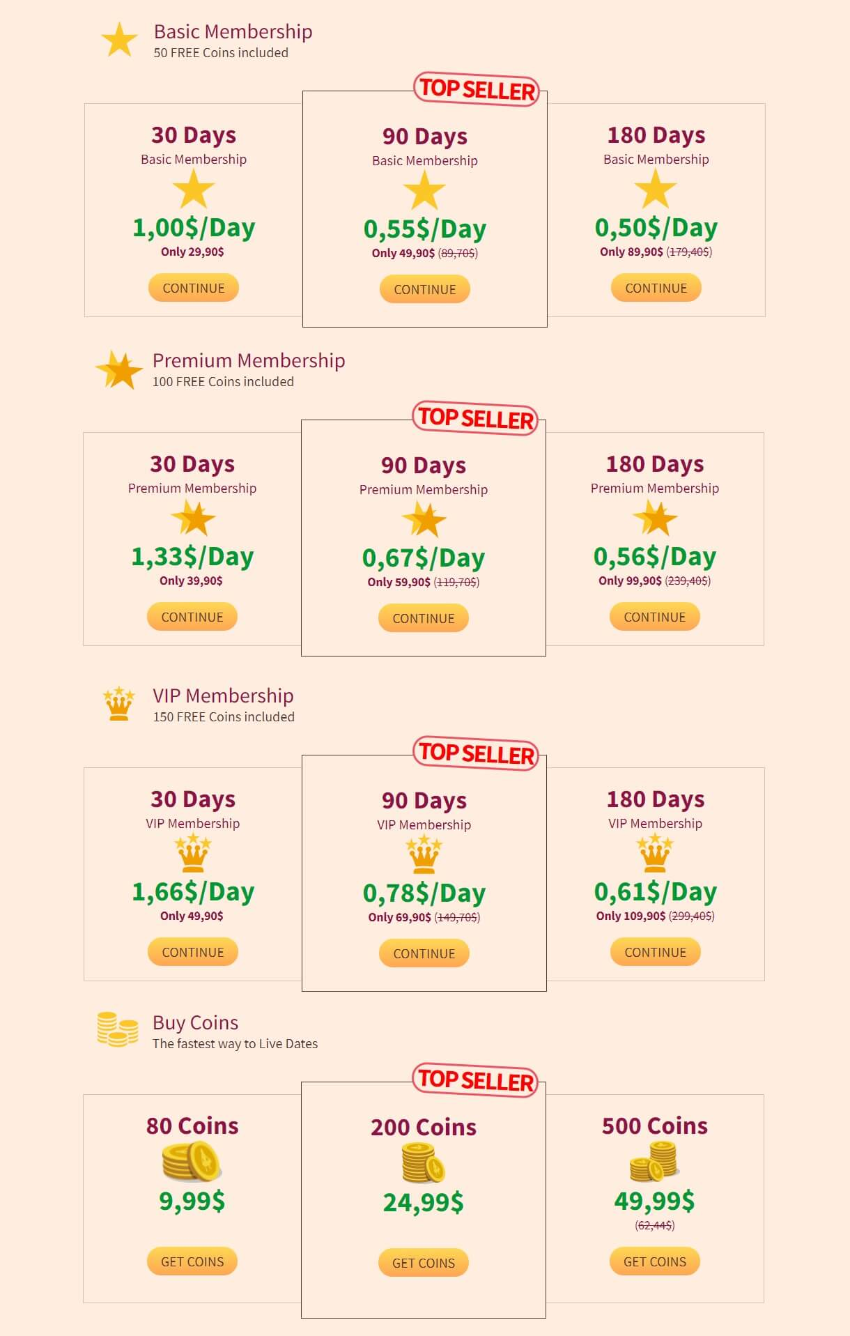 Milf Area Price Table
