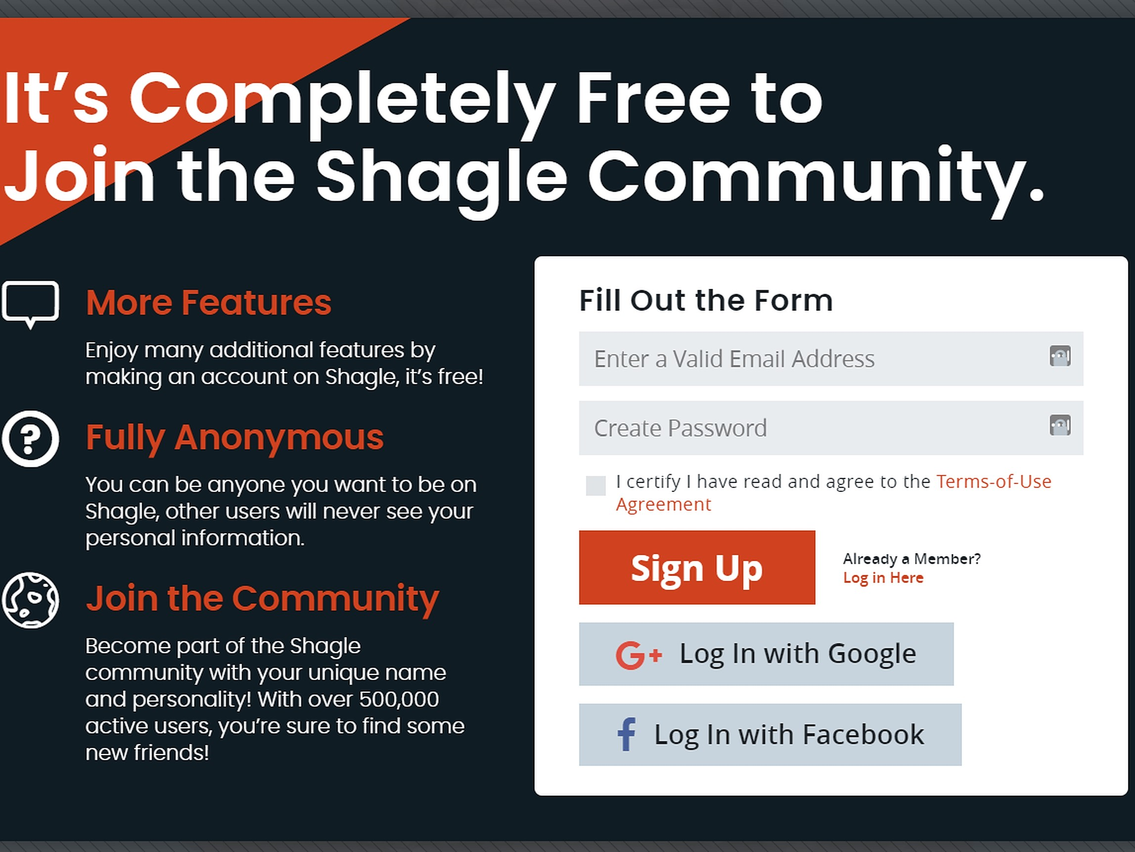 Shagle Signup Process