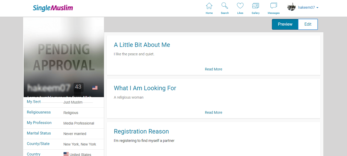 Single Muslim Profile