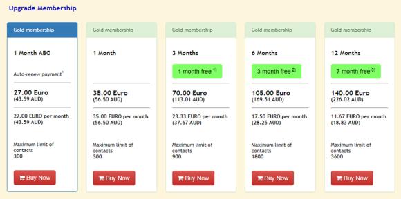 LadyBoyKisses Price Table