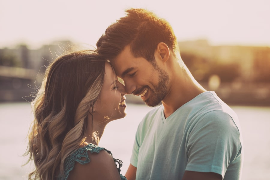 friendzone couple smiling nose to nose