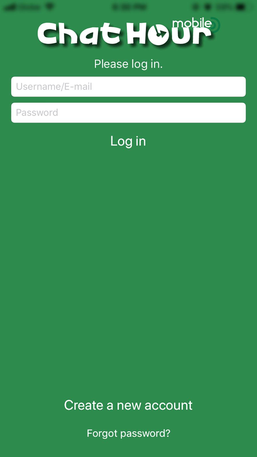 Chat Hour App Login