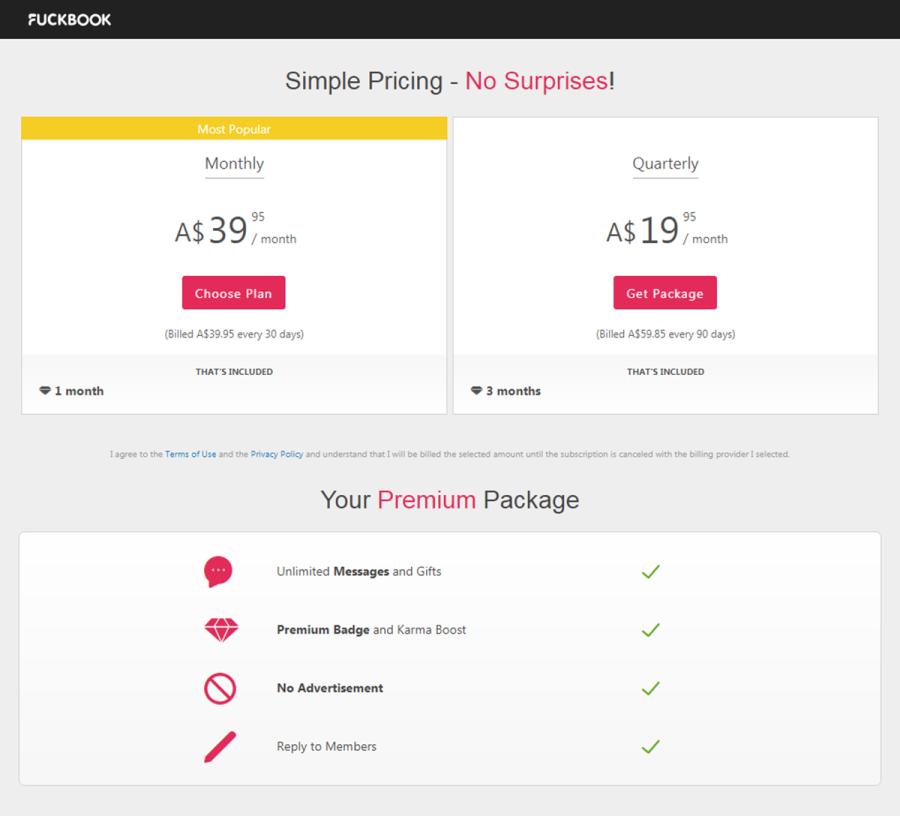 Fuckbook Premium Price