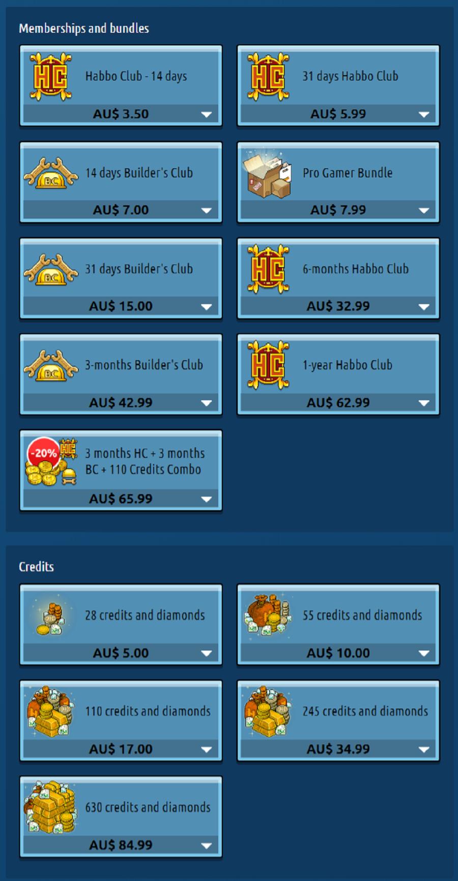 Habbo Prices Aus
