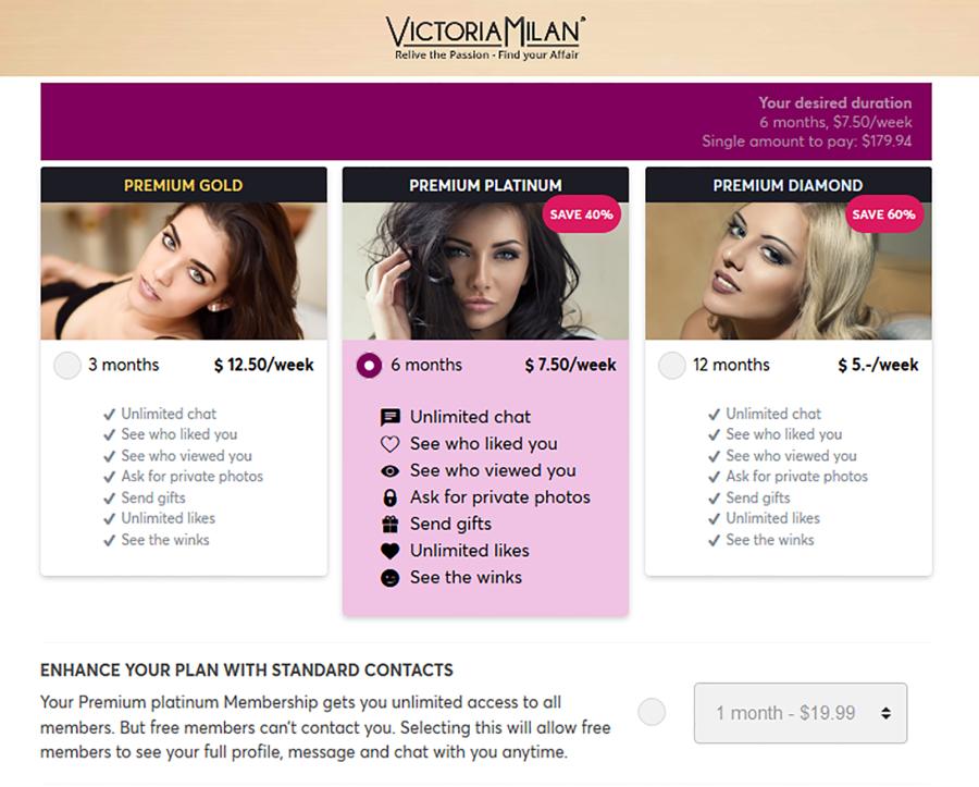 Victoria Milan AU Price